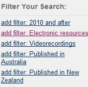 SCIS Catalogue filter options