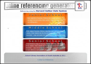 Online referencing generator home page