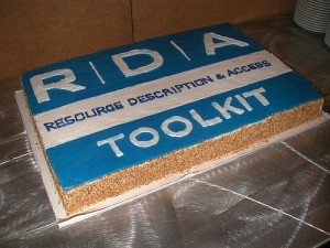 Cake toasting the launch of RDA and RDA Toolkit