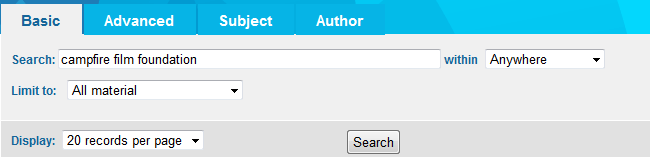 Use 'Campfire Film Foundation' as a search term