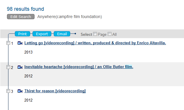 Titles distributed through Campfire Film Foundation