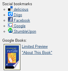 Social bookmarks links in SCIS Catalogue full record screen
