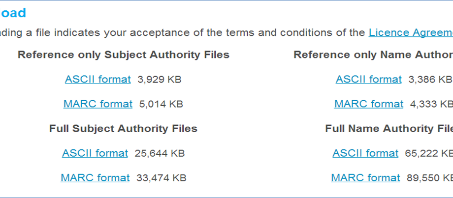 SCIS Authority File download options