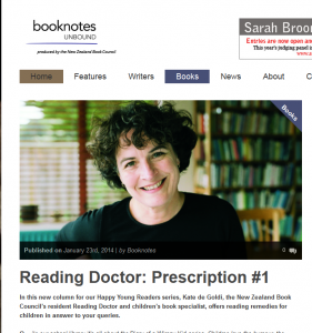 Author Kate de Goldi has a regular Reading Doctor segment in Bootnotes, the online magazine from Book Council of NZ