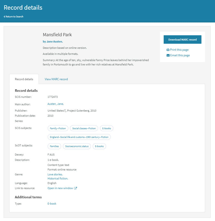 SCIS Data record