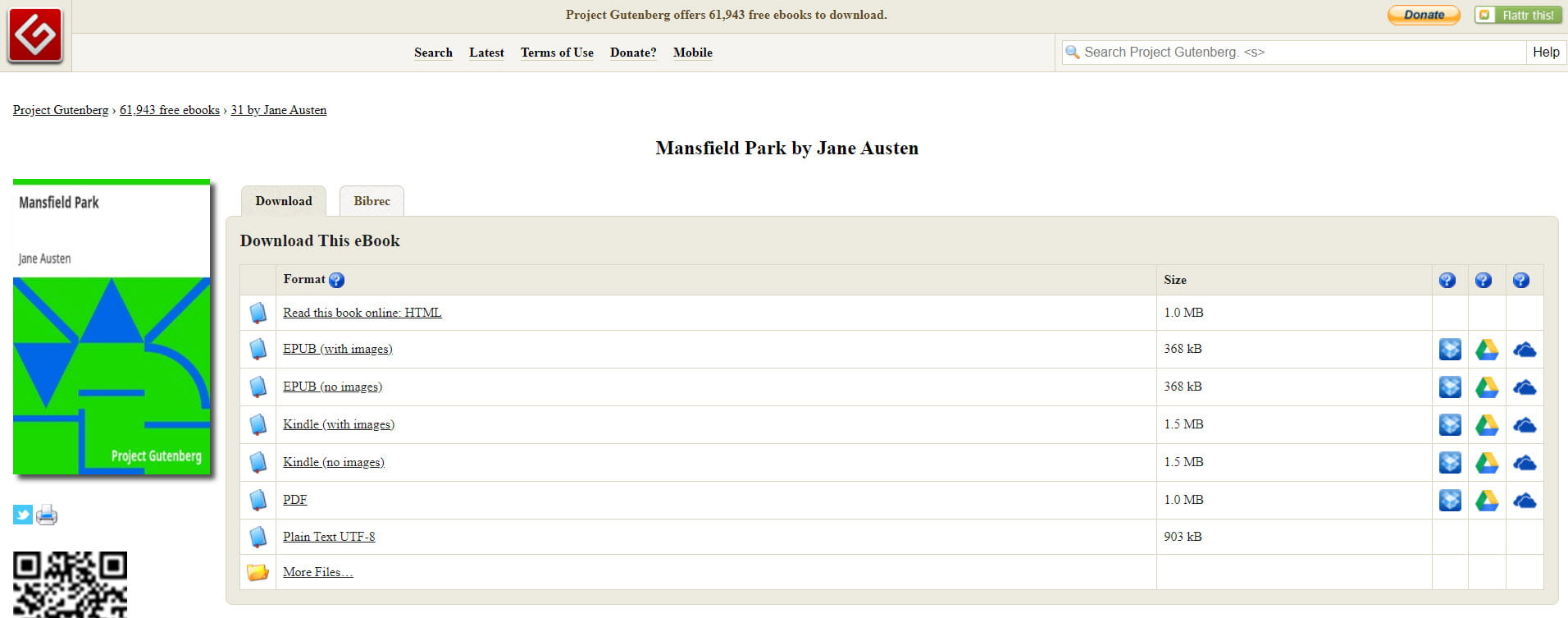 Project Gutenberg record for Mansfield Park by Jane Austen