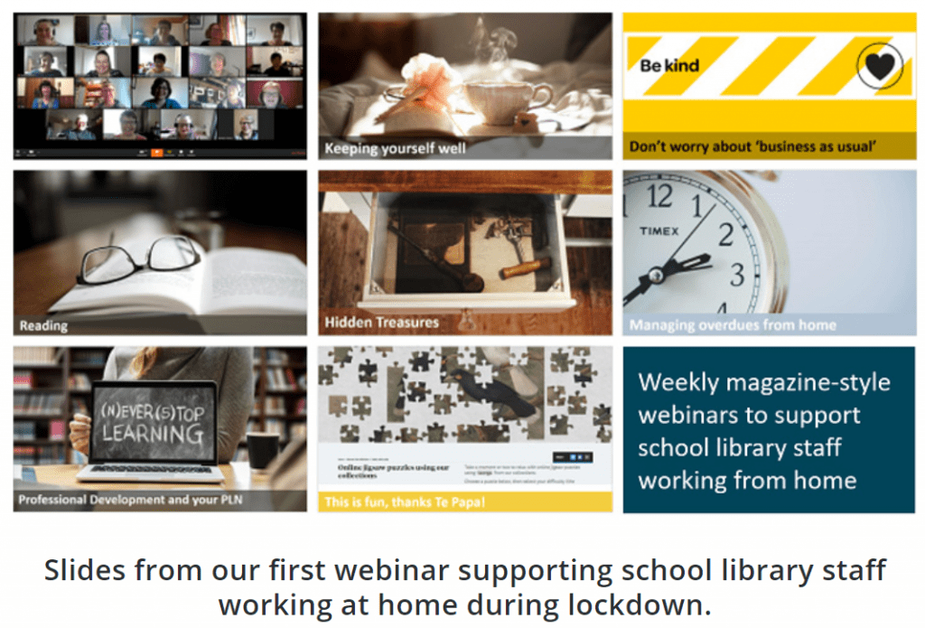 Slides from our first webinar supporting school library staff working at home during lockdown.Services to Schools Capability team members working from home during lockdown.