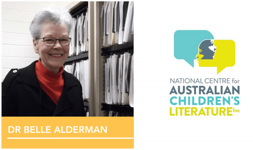 National Centre for Australian Children's Literature (NCACL) logo and photo of Belle Alderman